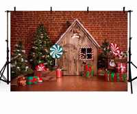 Christmas Backdrop Vinyl Photography Background Christmas Tree Gifts Toy Wood House Children Backdrops for Photo Studio ZR-178