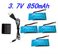 4 pcs 3.7V 850mAh Syma X5SW X5SC X5S  X5SC-1 RC Battery with 4 in1 Charger Set for Drone Quadcopter Free Shipping