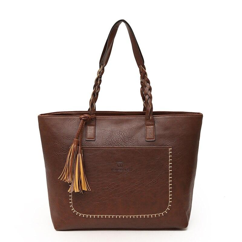 Fashion Women PU Leather Bag Tassel Handbags Women Big Totes Bags Luxury  Designer High Quality sac a main Vintage Shoulder Bag 0d70bf48d1
