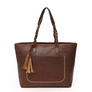 Image 2 - Fashion Women PU Leather Bag Tassel Handbags Women Big Totes Bags Luxury Designer High Quality sac a main Vintage Shoulder Bag
