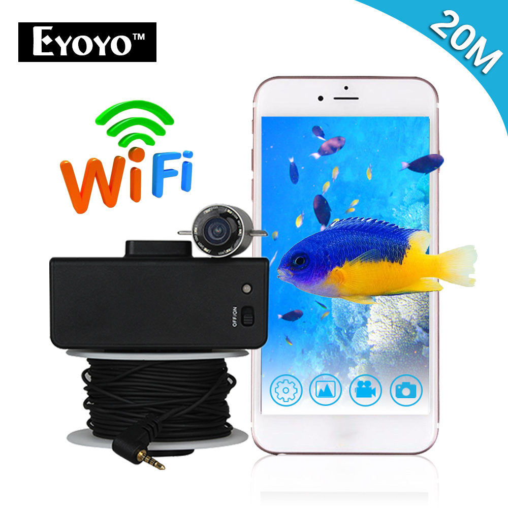 Eyoyo WIFI Wireless 20M Underwater Fishing Camera Portable Fish Finder Video Recorder IR LED Spring Ice Fishing for Lakers 2 4g wireless fish finder underwater fishing camera video free soft app 50m underwater breeding monitoring for fish searching