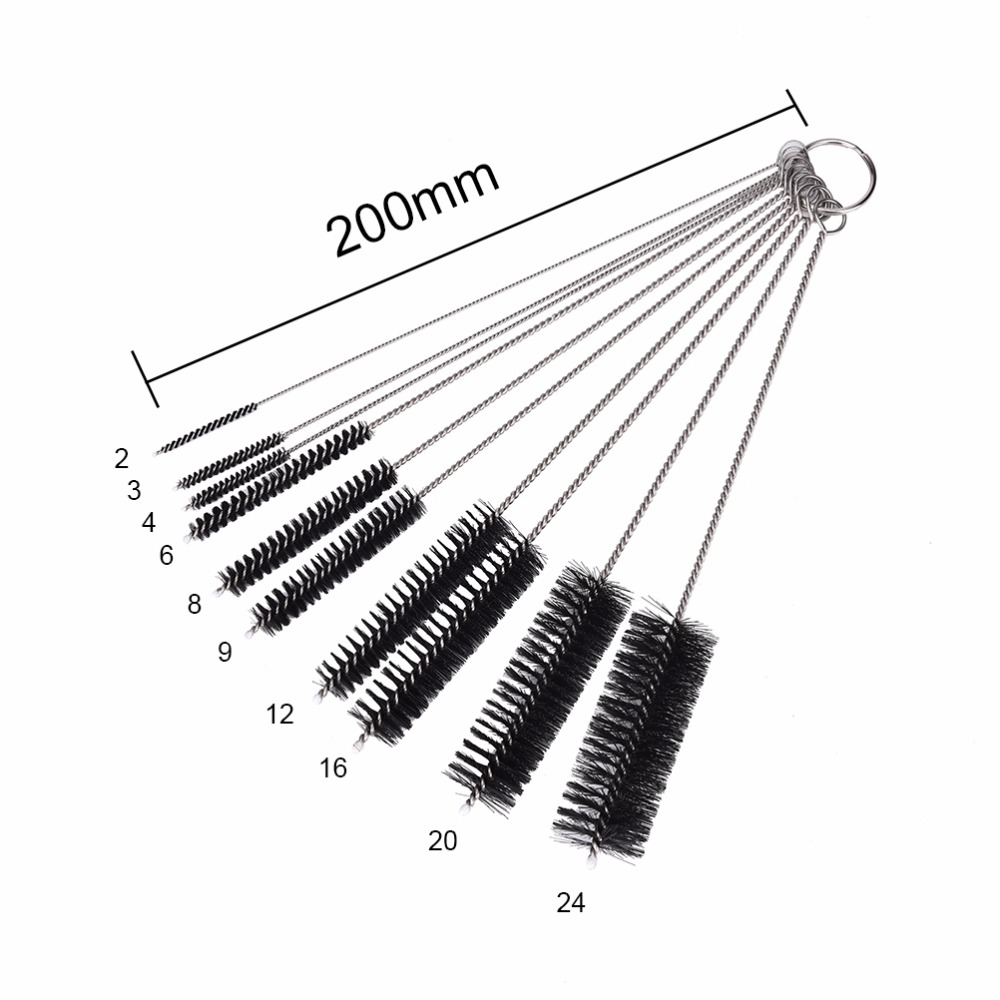 10Pcs/set Stainless Steel Test Tube Cleaning Brushes Laboratory Supplies Baby Bottle Teapot Nozzle Clean Tool