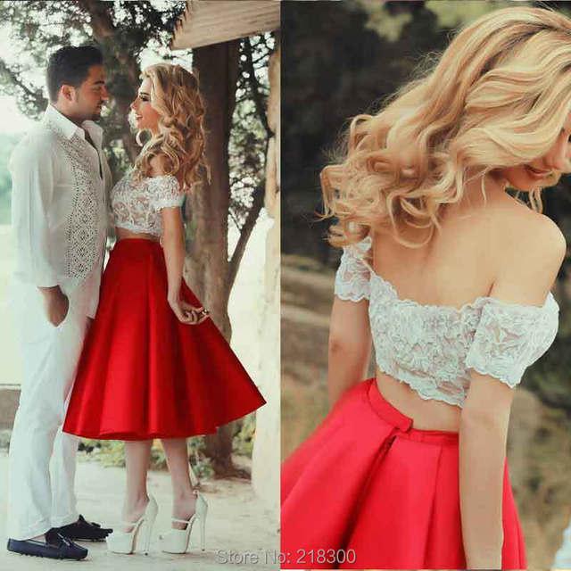 ba0b8af6cf025 قطعتين فستان أحمر الحفلة الراقصة الشاي طول قطعتين بيضاء قبالة الكتف فساتين  كوكتيل فساتين العودة للوطن