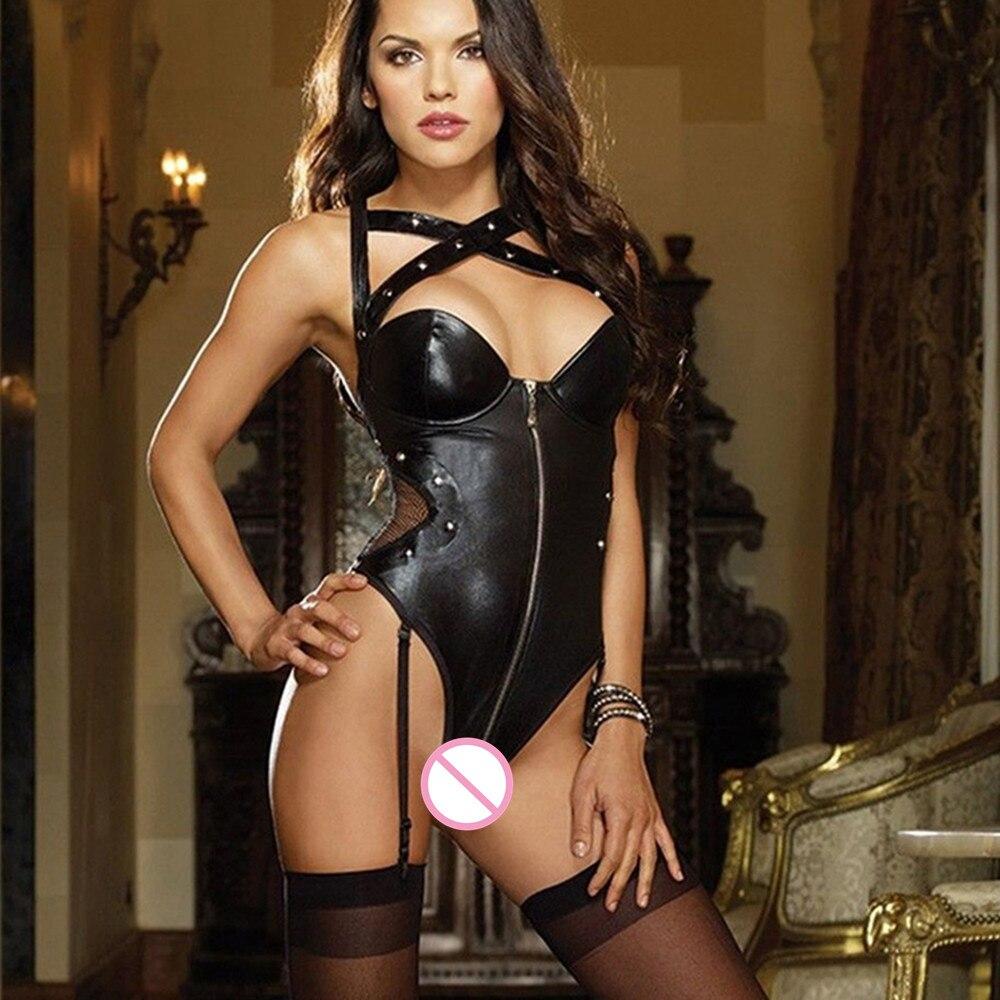 Women sexy bandage leather lingerie set