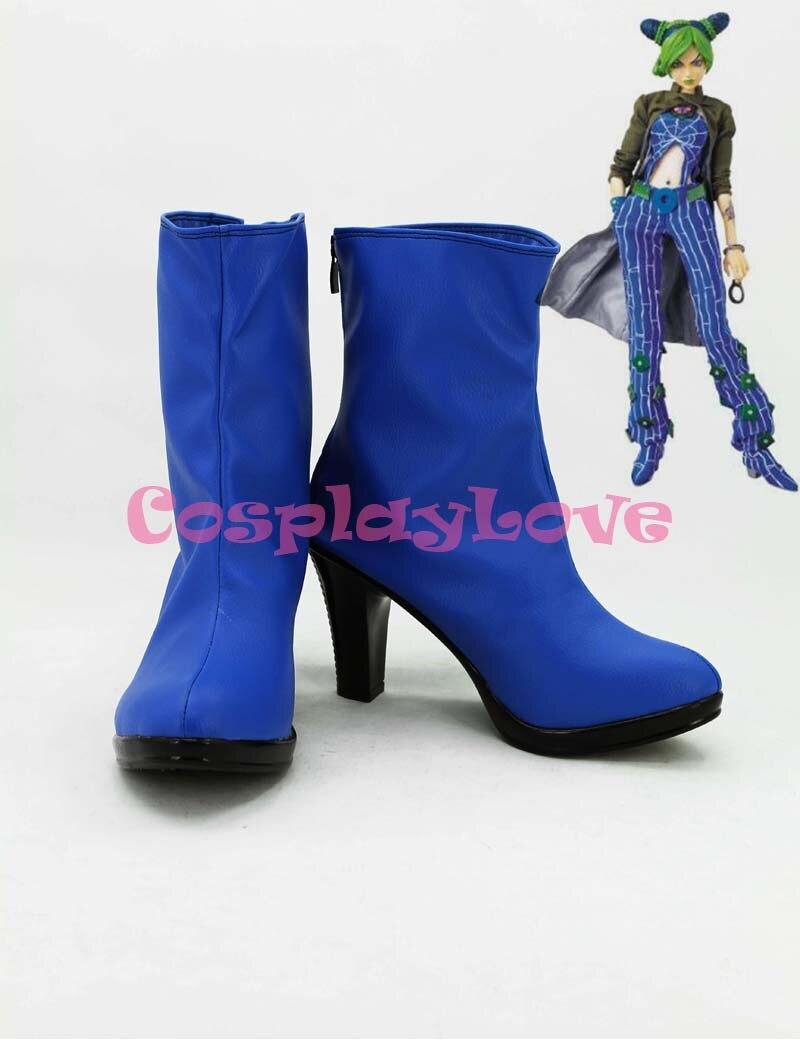 Newest Custom Made Japanese Jojo Bizzare Adventure Blue Jolyne Kujo Cosplay Shoes Long Boots For Christmas Halloween Festival