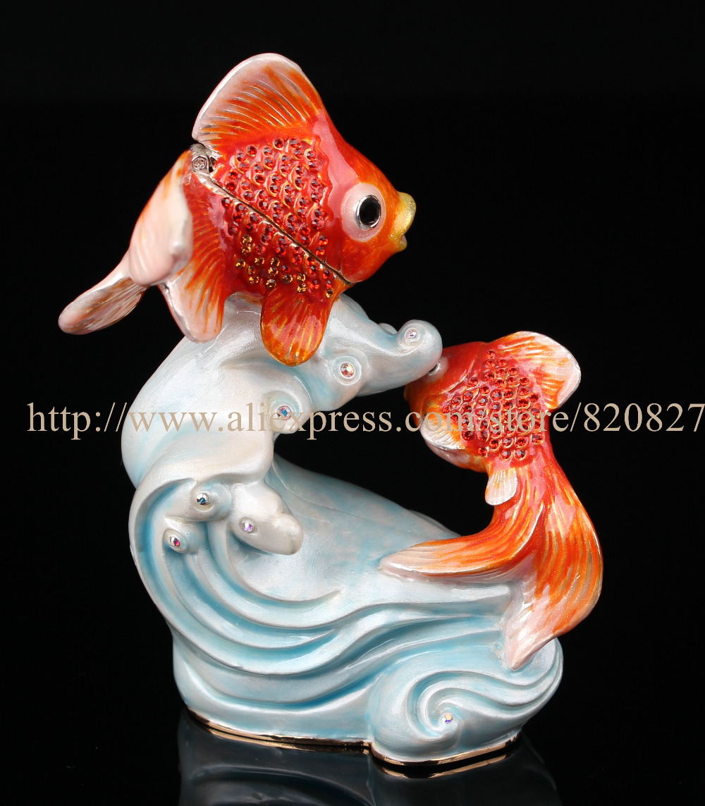 Collectible Fish Statues Decoration Trinket Box Fishes Fish Jewelry Box Pewter Enamel Decor Ocean Animal Jewelry Ring Holder