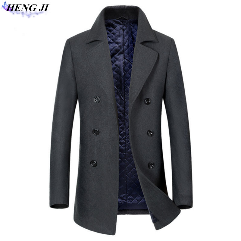 Mens double-breasted coat, medium long coat, wool blended, casual and simple, easy to handle, high quality, free shipping