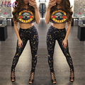 HQ Women Short Sleeve Guns and Roses Printed Cropped Top and Long Pants Set Street Style Casual 2 Piece Sweat Suit U1BNXH3117
