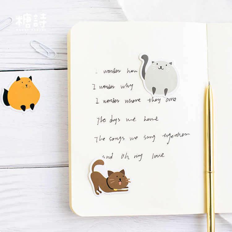 45 Pçs/caixa Novo Colorido Bonito do gato Papel Lable Adesivos Artesanato E Scrapbooking Decorativa Lifelog Etiqueta DIY artigos de Papelaria Bonitos