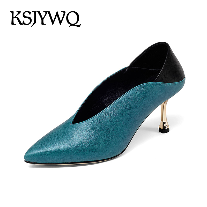 KSJYWQ 2018 Women's Genuine leather Pumps High Quality Expensive Shoes 7 CM Heels Blue Summer Dress Shoes Box Packing G18C002