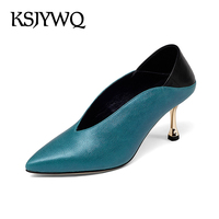 Ksjywq 2018 Для женщин из натуральной кожи Насосы высокое качество дорого Обувь 7 см Каблучки синие летние Туфли под платье упаковка коробки g18c002