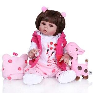 Image 4 - New Full body soft silcone waterproof 48CM newborn bebe doll reborn doll baby girl in pink dress realistic baby Bath toy
