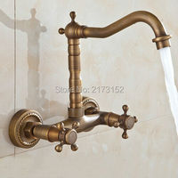 Free Shipping Tall Wall Mounted Antique Brass Double Hole Bathroom Faucet Double Wheel Handle Brass Basin