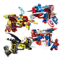 DIY Technology Building Blocks Toy Gun Assembly Toy Brain Shooting Game Model Can Fire Bullets with Instruction Book Compatible