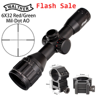 New WALTHER 6x32 AO Mini Mil Dot Double Color Illuminated Reticle Hunting Riflescope Tactical Optical Sight Rifle Scope