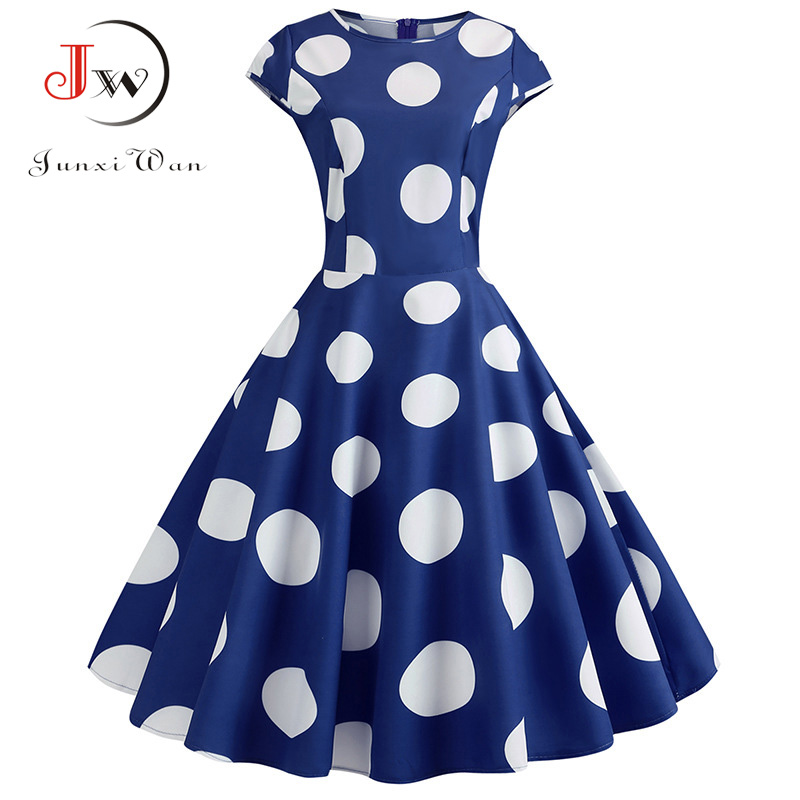 2019 Women Summer Dress Polka Dot Print Vintage Dress Tunic Slim Midi Party Dress Vestidos Plus Size Beach Sundress