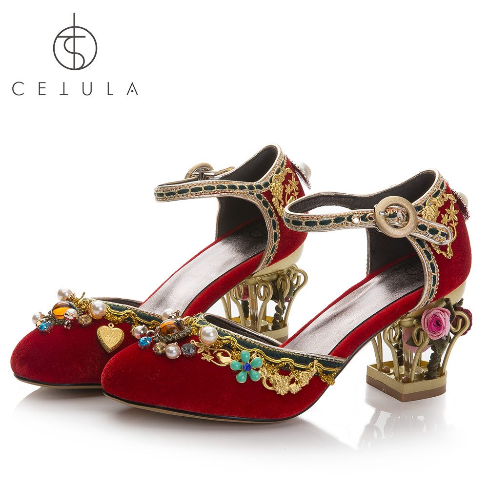 aab1c979066f08  Cetula 2018 Handcrafted Gypsy Style Floral Embroidery Pearls Red Velvet  Female Banquet Wedding Shoes ft