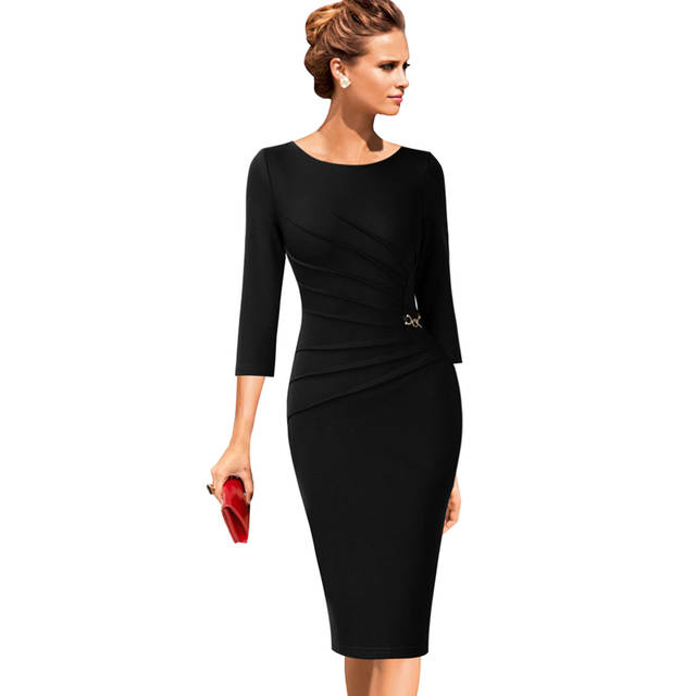 cd82ca24e1e35 US $21.49 |Vfemage Womens Celebrity Elegant Vintage Ruched Pinup Wear To  Work Office Business Casual Party Fitted Bodycon Pencil Dress 1041-in  Dresses ...