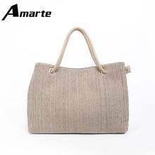 Woman Canvas Shoulder Bag Large Capacity Linen Handbag Shopper Tote Shopping Bags