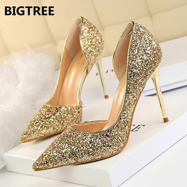 BIGTREE 女性パンプスハイヒールをブリンブリン女性はハイヒールの靴女性のセクシーな結婚式の靴の金銀