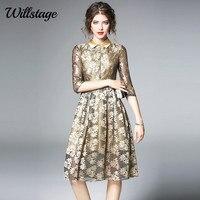 Willstage שמלת תחרה זהב אלגנטי באיכות גבוהה פאייטים שמלות vestidos שמלת 2018 אופנה אביב נשים סקסי המפלגה מתוך הולו