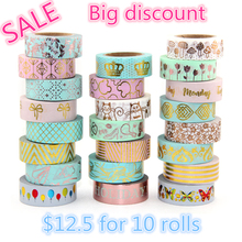 10roll Washi Tape set Scrapbooking Album Decorative Office Supplies & Christmas DIY