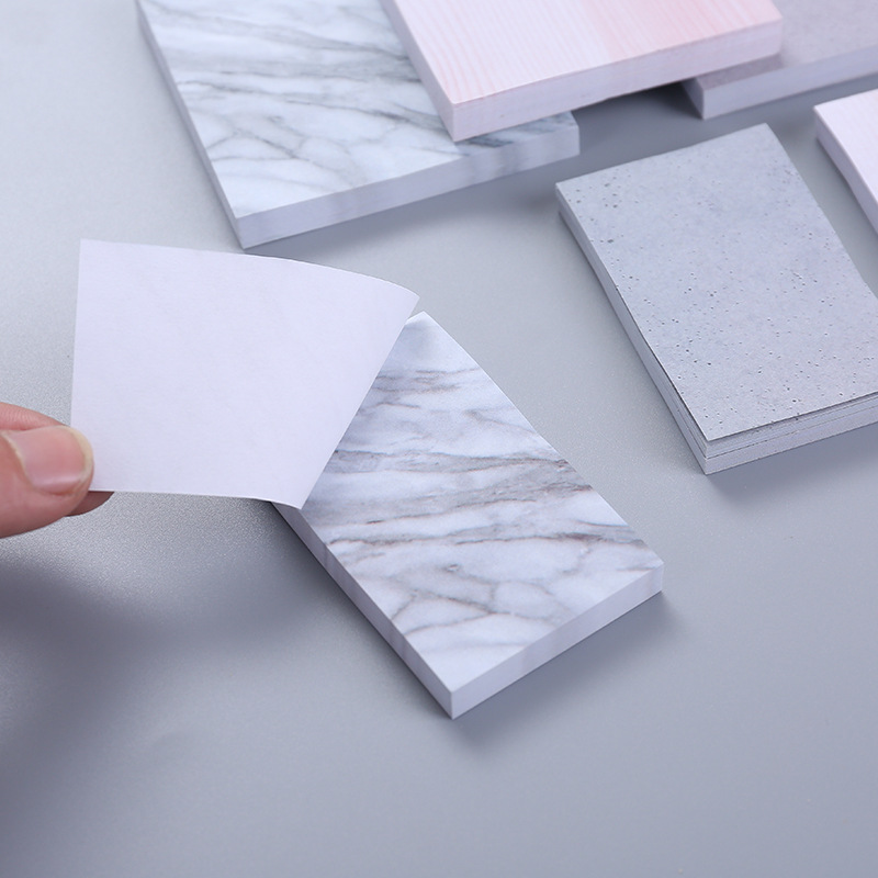 Creative Marble Texture Sticky Note Self-Adhesive Memo Pad Planner Rectangle Post It Note Diy Scrapbooking Office School Supply