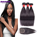 8A Indian Straight Unprocessed Hair With Closure Indian Hair Weave 3 Bundles Best Virgin Remy Straight Hair Bundles with Closure