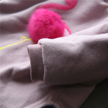 2017 Girls Winter Thick T Shirts for Baby Girl Brand Sweatshirt Children Tees Long Sleeve 3D Fur Ball Flamingo Pompom Clothing