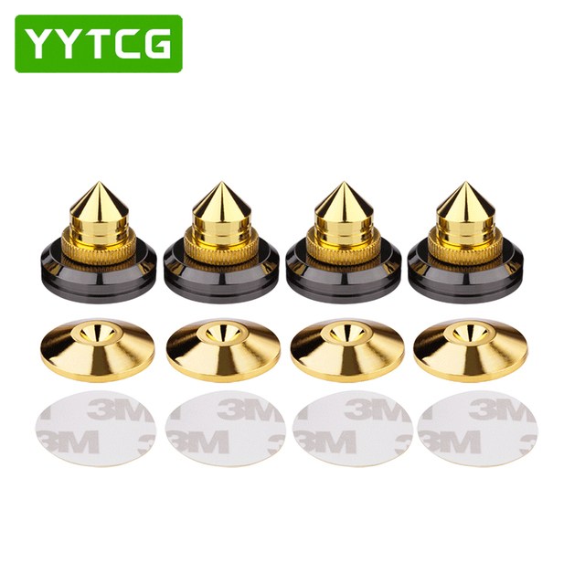 YYTCG 4 Sets  speakers Stand Feet Foot Pad Pure copper gold loudspeaker box Spikes Cone Floor Foot Nail M28*26