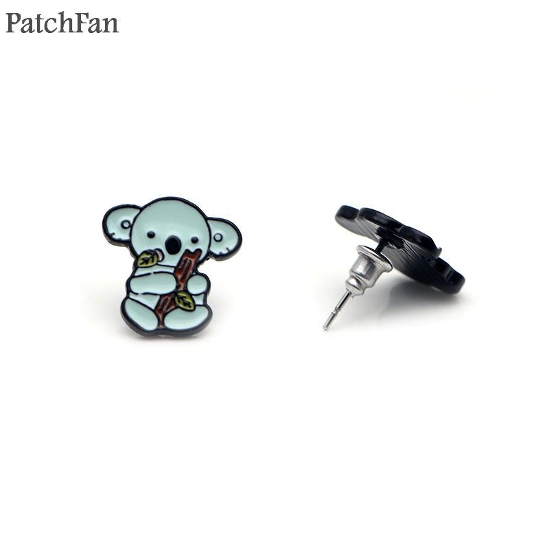 Patchfan bride earrings enamel Animal Koala Cartoon Charm Cute creative decoration alloy accessory for women jewelry gift A0954