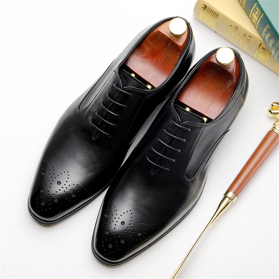 Genuine cow leather brogue Wedding shoes mens casual flats shoes vintage handmade oxford shoes for men