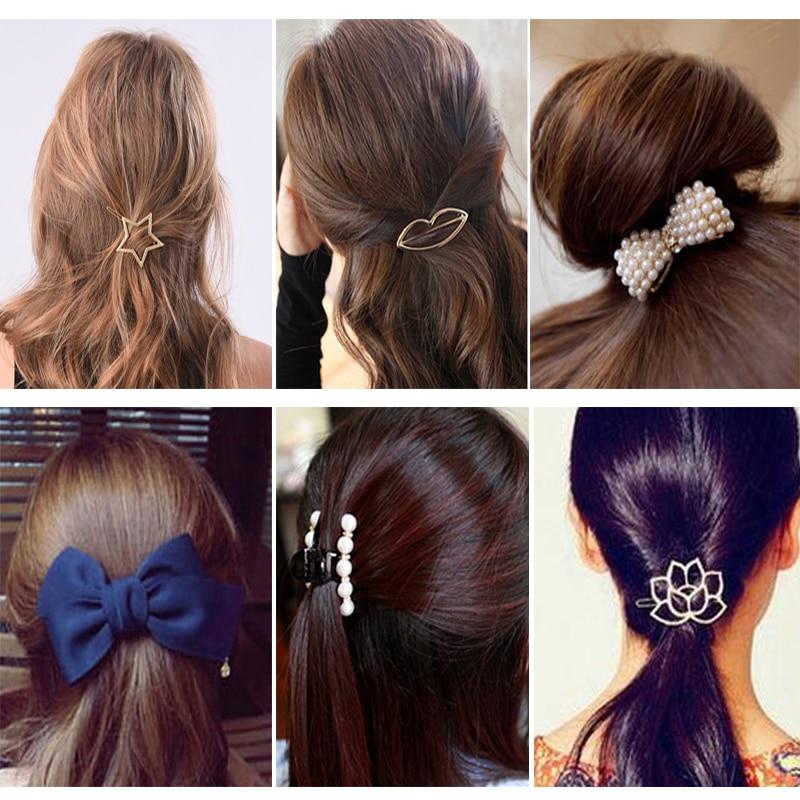 1/2/3pcs Women Girls Hair Clips Geometric Alloy Hair Barrettes   Headwear   Hairpins Headbands Female Hair Accessories Hairclips