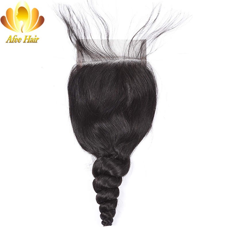 Ali Afee Brazilian Loose Wave Lace Closure With Baby Hair 4 4 Non remy Human Hair