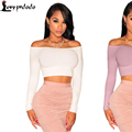 Sexy White/Black Off-The-Shoulder Knit Crop Top LC25695 Hot Long Sleeve Cropped T Shirt Top Tees Fitness Bustier camisetas mujer