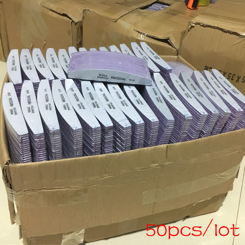 50 pçs 100/180 unha arte lixa lixa prego lavável arquivo de unhas semilune banana polimento curvo profissional manicure ferramentas conjunto