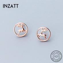 INZATT модные Настоящее серебро 925 проба полые круглые милые серьги-гвоздики Wapiti форма высокого качества для женщин День рождения Bijoux