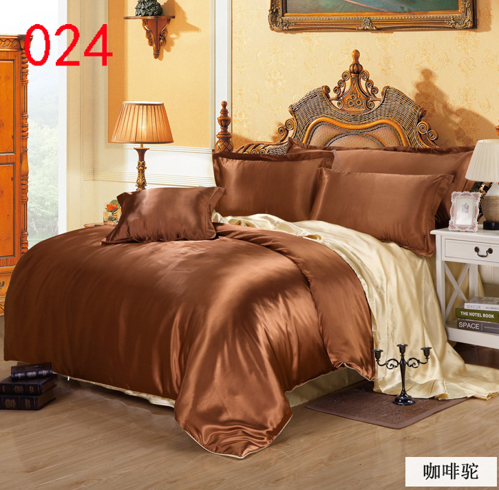 Bedroom Coffee Light Tan Bedclothes Set Bedding Sets Tribute Silk 3pcs 4pcs Duvet Cover Quilt Sheets Pillowcase In From Home Garden On