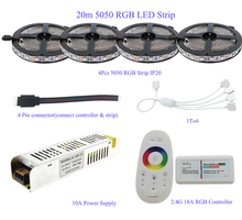 5M/10M/15M/20M 5050 RGB LED Strip Set IP20/IP65 Waterproof With 2.4G Touch Screen RF Remote Controller+12V Power Supply Adapter