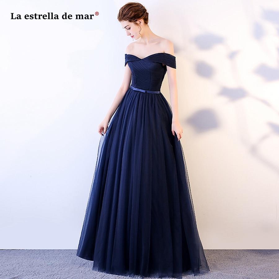 Vestido de festa longo para casamento new tulle sexy V neck Off the Shoulder backless A Line Navy blue   bridesmaid     dresses   long
