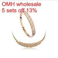 OMH gros Valse reconstituant des manières antiques en or blanc 18kt cristaux collier et bracelet Femmes filles cadeau parures TZ11