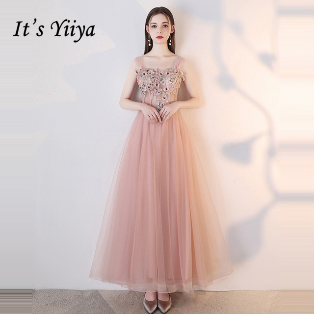 It's YiiYa Bridesmaids Dresses Sleeveless Lace Embroidery Pearls Flower Tulle Formal Dress Lady Fashion Designer LX1043