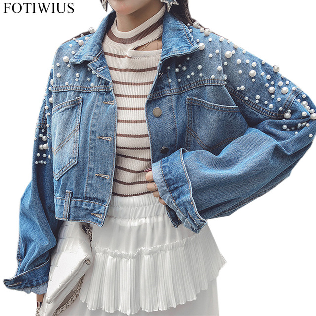 1c5a7350ce9 2018 Spring Autumn Denim Jacket Women Plus Size Coat Beading Pearl Casual  Loose Short Jeans Jackets