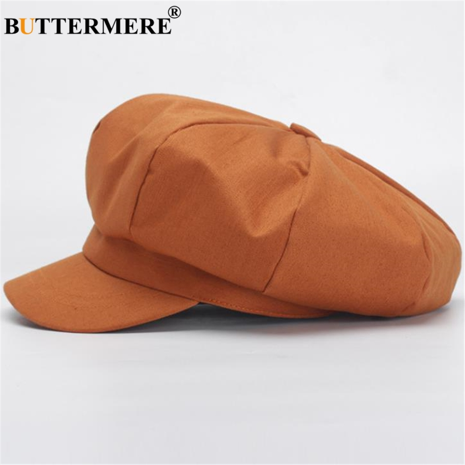BUTTERMERE Newsboy Cap Women 2019 Spring Summer Octagonal Cap Orange British Retro Ladies Beret Cotton Female Painter Flat Cap