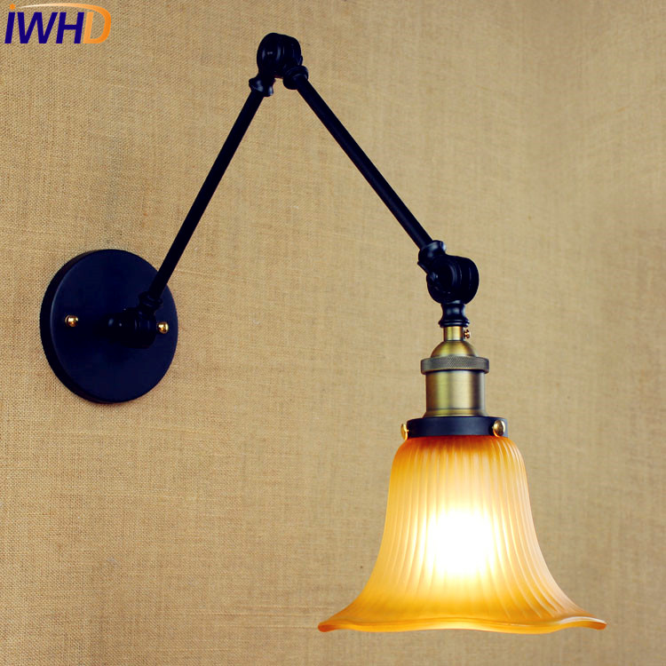 Glass Vintage Retro Wall Lights Fixtures Wandlampen Lighting Swing Long Arm Wall Light Loft Industrial Sconces Lampara Pared брюки theory theory th008ewdmh04
