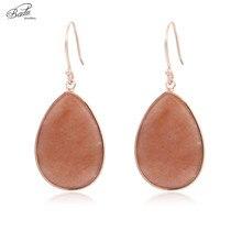 цены на Badu Natural Stone Earrings Women Long Water Drop Dangle Earrings Vintage Copper Hook Earring Vintage Jewelry Gift for Girls  в интернет-магазинах