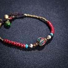 Женский браслет amourjoux в этническом стиле с бусинами и цепочкой