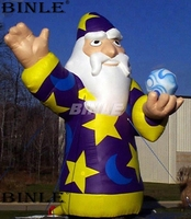Custom 5mH giant inflatable wizard inflatable witch cartoon figure with ball in hand for halloween decoration