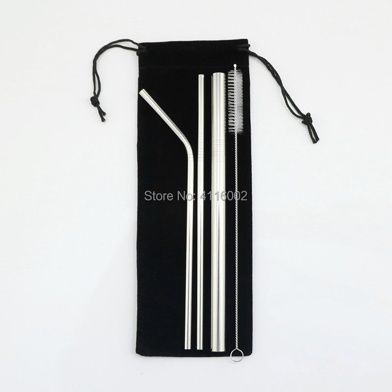 50 Sets Stainless Steel Drinking Straws Reusable Metal Straws With Cleaner Brush And Storage Pouch Bag