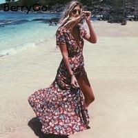 BerryGo Sash V Neck Floral Print Long Dress Women Short Sleeve Split Summer Dress Streetwear Casual